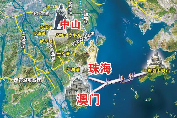 该桥珠海口岸工程是国内唯一同时连接港澳的口岸,实现港珠澳互通