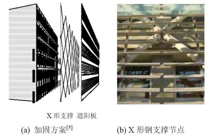 加固方案与X形钢支撑节点