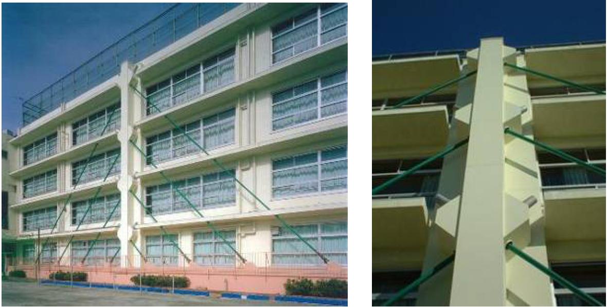 某教学楼采用附加斜拉立柱的加固方案
